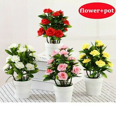 Artificial Fake Rose Flowers Plants In Pot Outdoor Garden Wedding Home Decor UK