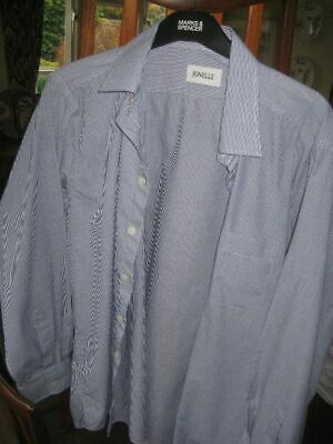 Jonelle Men's Blue Striped Long Sleeve Shirt Size 17, 1DEC19