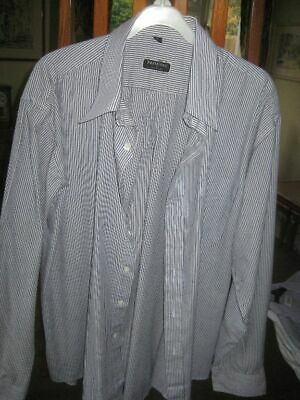Premiere Men's Blue Striped Long Sleeve Shirt Size 17, 1DEC19