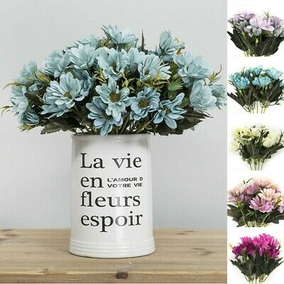 Artificial Plastic Fake Noble Daisy Flowers Head Bouquet Wedding Party Home Deco