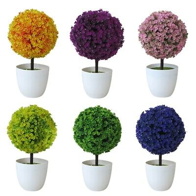 Artificial Pot Plant Bonsai Fake Grass Leaf Ball For Home Office Desk Party Deco