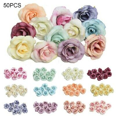 50x Artificial Silk Rose Peony Flower Head Bulk Craft Wedding Party Art Decor