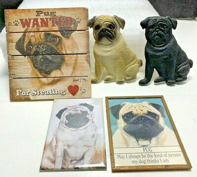 Vintage Plastic & Wood Pug Refigerator Magnets 1 Best Friends by Ruth Maystead