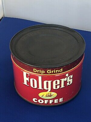 Vintage 1952 Folgers Coffee Can Tin Sealed With Key Full 1lb Unopened
