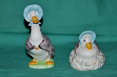 Beswick England Porcelain 2 Jemima Puddleducks ~ 1 standing & 1 in feather nest