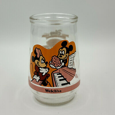 Vintage Welch's Jelly Glass Jar Disney Mickey & Minnie Mouse Pleasant Surprise