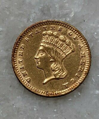 1870 Gold Dollar. Type 3. Rare coin only 6,000 Minted. Uncirculated Details.