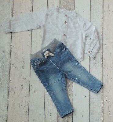 FAB Baby Boy Jeans & Long Sleeve Shirt Outfit - River Island (0 - 3 months)