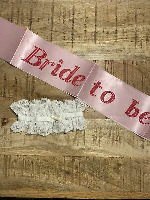 Bride To Be Sash And Garter White Pink Fancy Dress Hen Party