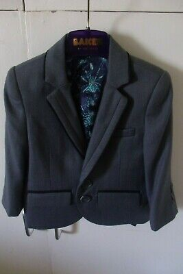 NEW BAKER by Ted Baker Boys Grey H'bone Jacket Age 1 M/C Wash Poly/Visc rrp £50