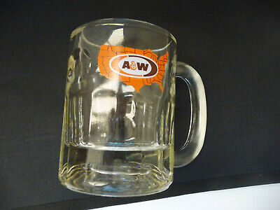 A&W® Root Beer Glass Mug 8-Oz US Map Logo 16 oz-Flute Base Design 1972-1975