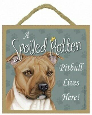 A Spoiled Rotten Pitbull Tan Lives Here Dog Sign Wall Table Desk Easel 5x5 D12