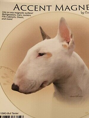 "Bull Terrier Car Magnet measures 6&1/4"" round. Use on any Magnetic surface."