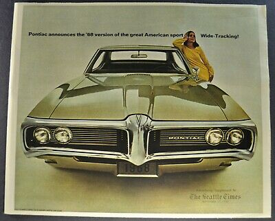 1968 Pontiac Brochure GTO Tempest Firebird 400 Grand Prix Catalina Original 68