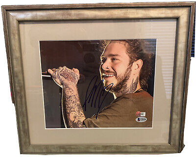 Post Malone Beckett Authentication 8x10 autographed photo (15x13 custom frame)