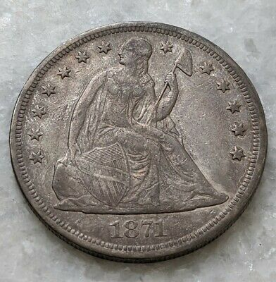 1871 Seated Liberty Silver Dollar. Very Fine. Nice Type Coin