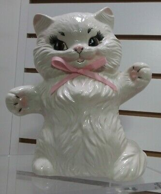 "Adorable Large Ceramic White Spunky Kitten on Hind Legs 9"" Signed KC"