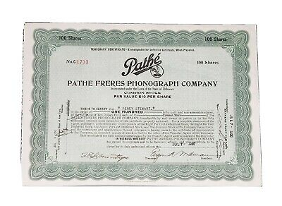 1920 Pathe Freres Phonograph Company Stock Certificate #C1733