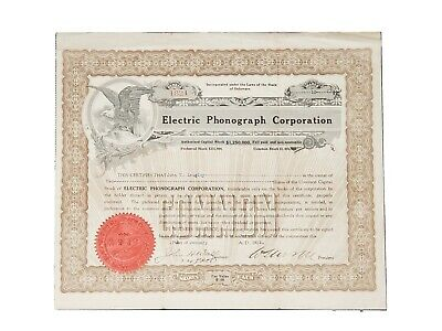 1922 Electric Phonograph Corporation Stock Certificate #1824, Prag Collection