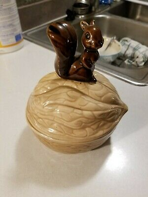 Vintage Armbee Ceramic Lidded Nut Dish Shaped Walnut with Squirrel on Top