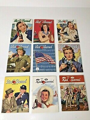 COCA~COLA The Red Barrel Magazines 1943~1944 ~Wartime Lot/9 ~ RARE