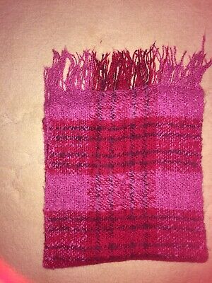 Girls' Scarf checked Pink and Red with purple lines