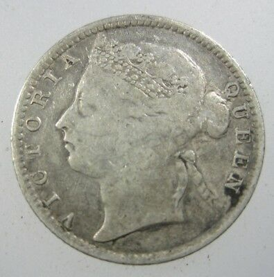 Straits Settlements British 10 Cent 1895 Silver Malaysia Singapore 46# Coin
