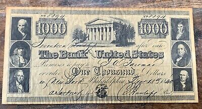 REPRODUCTION 1840 $1000 BANK NOTE of the United States # 8894 Philadelphia Issue