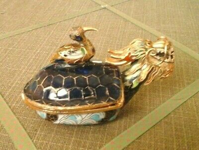 "vintage cloisonne enamel Dragon turtle box with bird handle approx 4"" long"