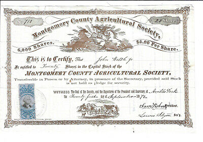 PENNSYLVANIA 1872 Montgomery County Agricultural Society Stock Certificate