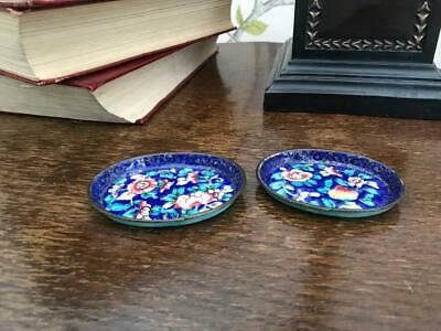 Pair Of Antique Chinese Cloisonne Enamel Floral Pin Trinket Dishes