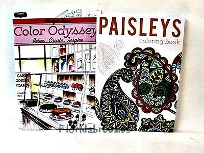 PAISLEYS *ODYSSEY ADULT COLORING Books,Set of 2, 32 PG EA Gift!