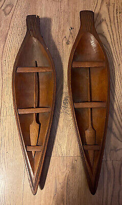 Antique 1920s Authentic Pair Of Samoan Model Canoe Form Spears With Paddles