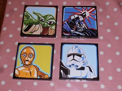Fantastic set of 4 Star Wars Pictures. Darth Vader, Yoda, Stormtrooper & C3-PO.