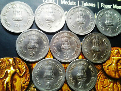 India-republic 2 Rupees, 1990 National Integration 9 coins, with 2 error coins