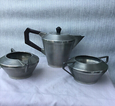 Knighthood Old English Pewter Art Deco 3 Piece Tea Set