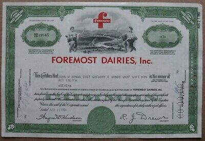 Foremost Dairies, Inc. Stock certificate 1964 - Series: 19845