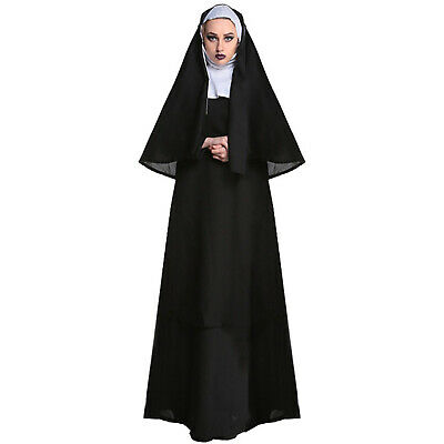 Ladies Adult Full Nuns Habit Costume Fancy Dress Sister Act Holy Religious Order