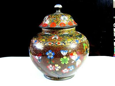 Antique Chinese Cloisonne Caddy / Lidded Jar Of Exceptional Quality