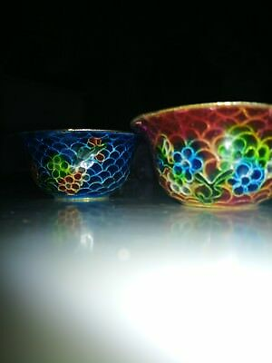 Pair Of Small Chinese Plique A Jour Bowls With Stands