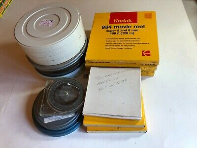 19 different 1960s 1970s Super 8 home made movie films in boxes and cans