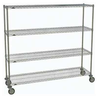 METRO 1872NC-4,63UP-4,5MP-4 Wire Cart,Chrome,69in.H x 18in.W,Silver