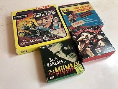 4 Super 8 Castle Films, mummy, football, james cagney, monster movies in boxes