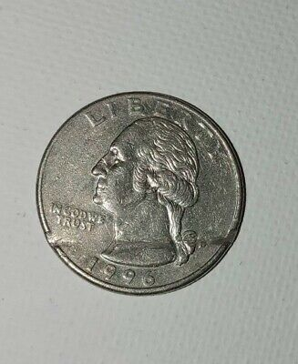 1996D many Errors Us Quarter (Creased +Die Spots On Eagle) circulated odd rarity