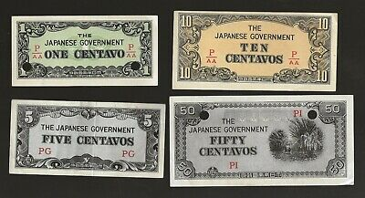 Japanese Ww2 Currency 1, 5, 10 50 Centavos Occupation Money Philippines E-95