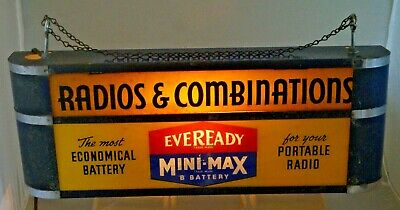 Antique 1930s 40s Era Radios Eveready Mini Max Battery Lighted Advertising Sign