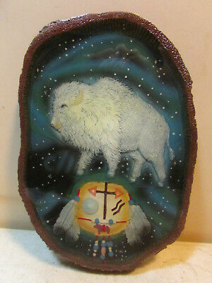 Great White Buffalo Indian Wood Looking Wall Plaque