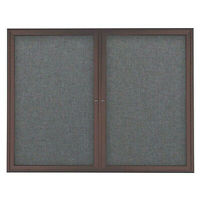 UNITED VISUAL PRODUCTS UV7003-BRONZE-MEDGRY Corkboard,Double Door,Radius