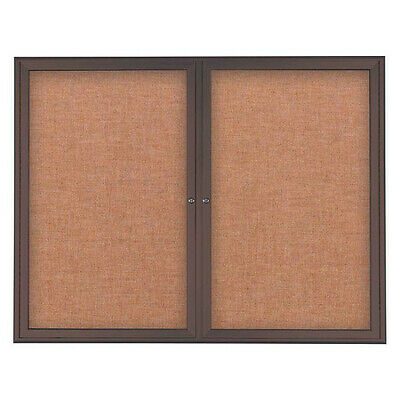 UNITED VISUAL PRODUCTS UV7003-BRONZE-CINNABA Corkboard,Double Door,Radius