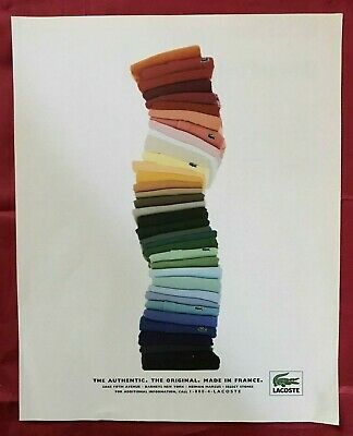 Lacoste Alligator Shirt Stack Photo Print Ad 1995
